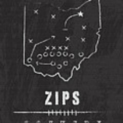 Akron Zips / Ncaa College Football Art / Ohio Art Print by Damon Gray