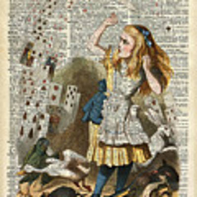 Alice In The Wonderland On A Vintage Dictionary Book Page Art Print