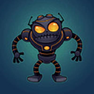 Angry Robot Art Print