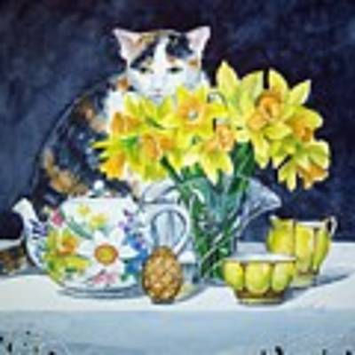 Annabelle Behind Flowers Art Print by Jane Loveall