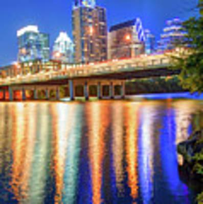 Austin Texas Skyline Night Reflections Art Print by Gregory Ballos