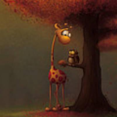 Autumn Giraffe Art Print