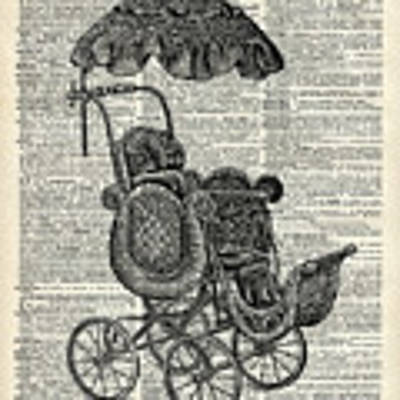 Baby Pram Over A Vintage Dictionary Page Art Print by Anna W