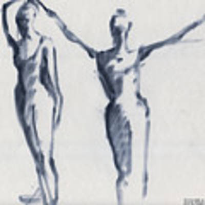 Ballet Sketch Two Dancers Arms Overhead Art Print by Beverly Brown