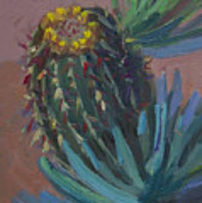 Barrel Cactus In Bloom - Boyce Thompson Arboretum Original by Diane McClary