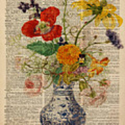 Bouquet Of Flowers Over Dictionary Page Art Print by Anna W