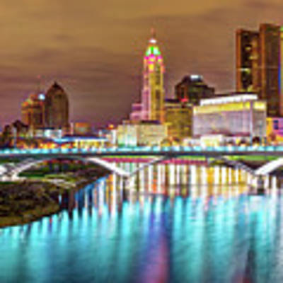 Buckeye Skyline - Columbus At Night On The Water Art Print by Gregory Ballos