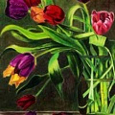 Cascading Tulips Art Print by Patti Ferron