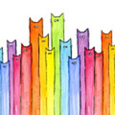 Cat Rainbow Watercolor Pattern Art Print by Olga Shvartsur