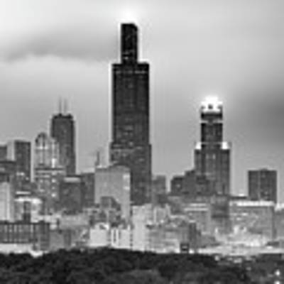 City Of Chicago Skyline Black And White Art Print by Gregory Ballos