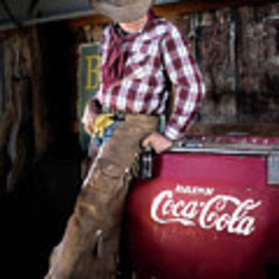 Classic Coca-cola Cowboy Art Print by James Sage