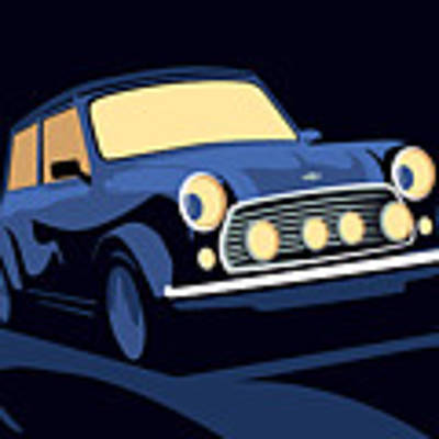 Classic Mini Cooper In Blue Art Print