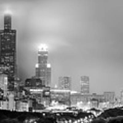 Cloudy Downtown Chicago Skyline In Black And White Art Print by Gregory Ballos