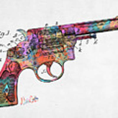 Colorful 1896 Wesson Revolver Patent Art Print by Nikki Marie Smith