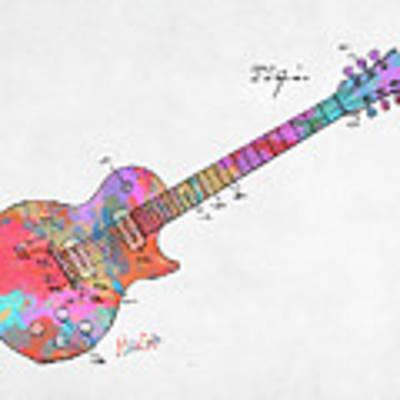 Colorful 1955 Mccarty Gibson Les Paul Guitar Patent Artwork Mini Art Print by Nikki Marie Smith
