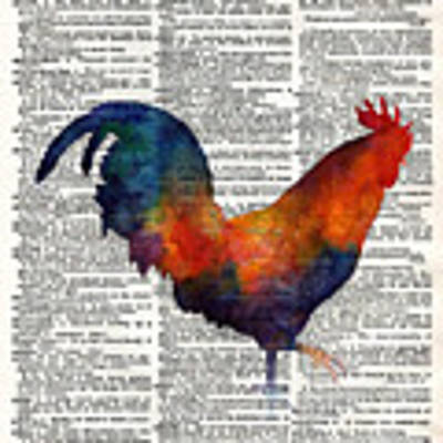 Colorful Rooster On Vintage Dictionary Art Print by Hailey E Herrera