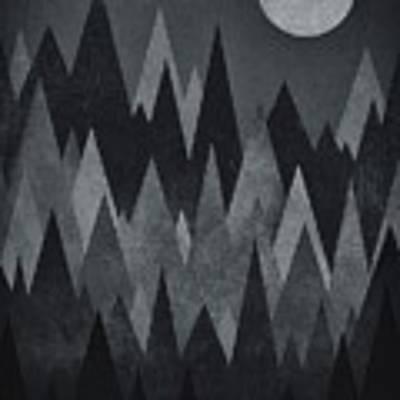 Dark Mystery Abstract Geometric Triangle Peak Woods Black And White Art Print by Philipp Rietz