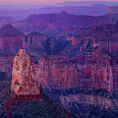 Dawn Mount Hayden Sunrise North Rim Grand Canyon Arizona Art Print by Dave Welling