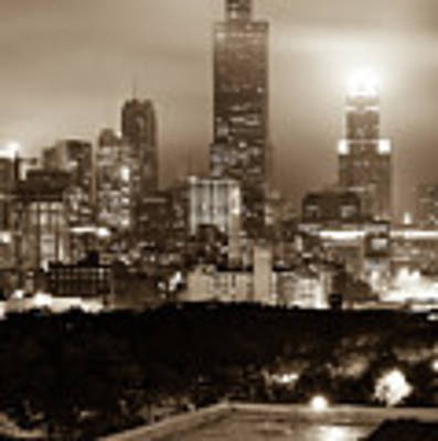 Downtown Chicago Illinois Skyline - Sepia Edition Art Print by Gregory Ballos