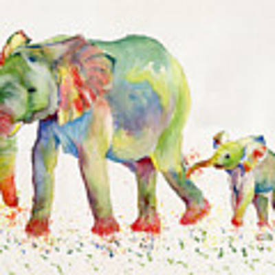 Elephant Family Watercolor  Original by Melly Terpening