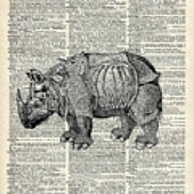 Fantasy Steampunk Rhinoceros Art Print by Anna W