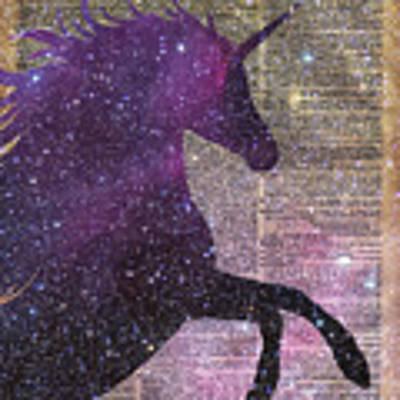 Fantasy Unicorn In The Space Art Print