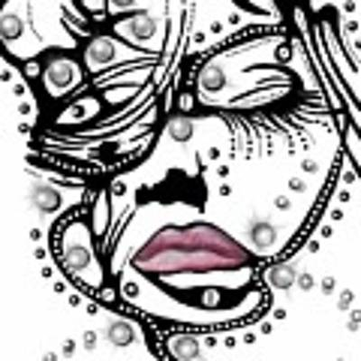 Female Abstract Face Art Print by Darren Cannell