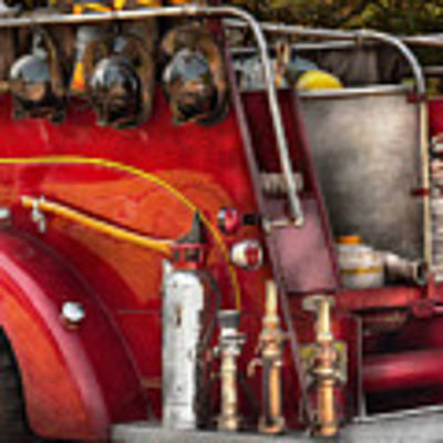 Fireman - Ready For A Fire Art Print by Mike Savad