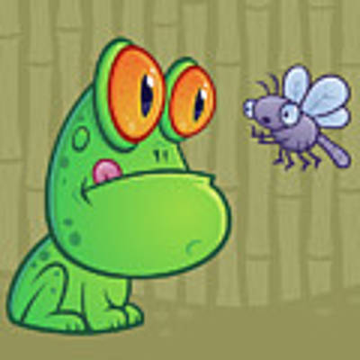 Frog And Dragonfly Art Print by John Schwegel