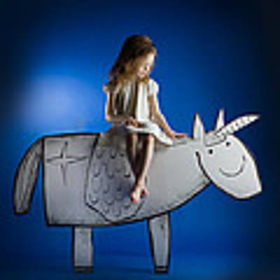 Girl And Her Unicorn Art Print