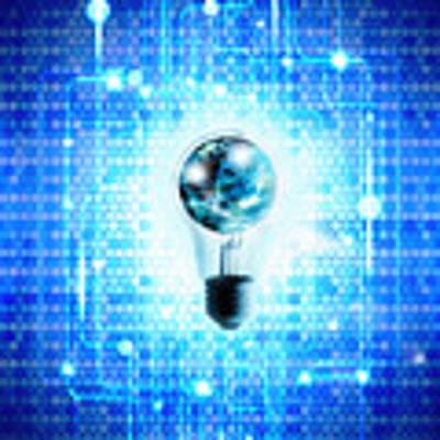 Globe And Light Bulb With Technology Background Art Print by Setsiri Silapasuwanchai