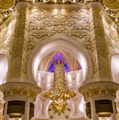 Golden Interiors Of Sheikh Zayed Mosque Art Print by Yogendra Joshi