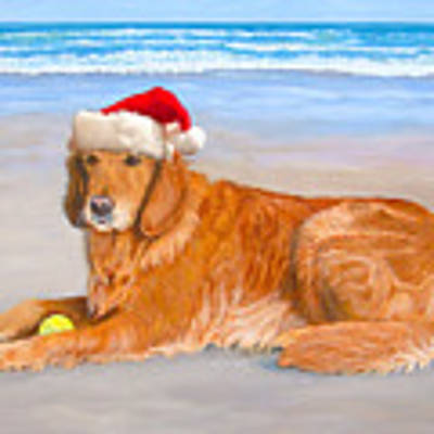Golden Retreiver Holiday Card Art Print by Karen Zuk Rosenblatt