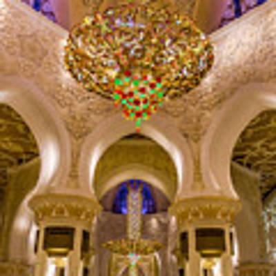Grand Chandelier Of Sheikh Zayed Mosque - Vertical  Art Print by Yogendra Joshi