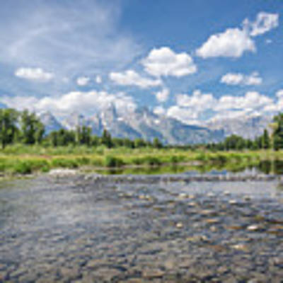 Grand Tetons On A Sunny Day Art Print by Margaret Pitcher