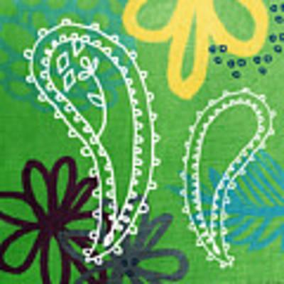 Green Paisley Garden Art Print by Linda Woods