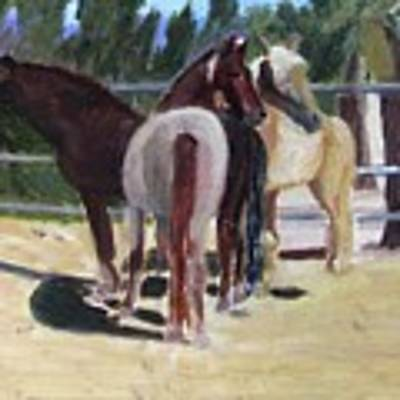 Gregory And His Mares Art Print by Linda Feinberg