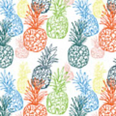 Happy Pineapple- Art By Linda Woods Art Print by Linda Woods