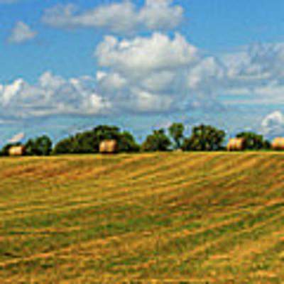 Hay Bales Panoramic Art Print by Barry Jones