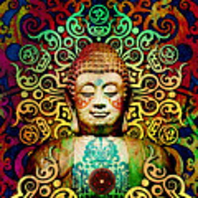 Heart Of Transcendence - Colorful Tribal Buddha Art Print by Christopher Beikmann