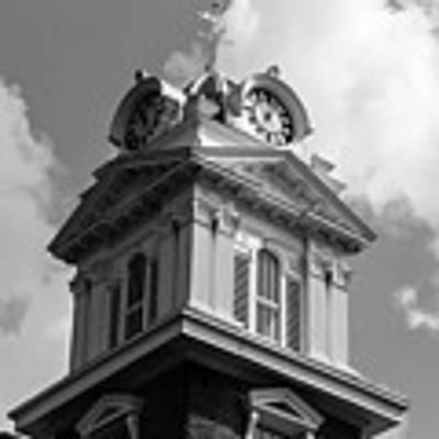 Historic Courthouse Steeple In Bw Art Print by Doug Camara