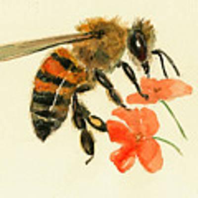 Honey Bee Watercolor Painting Original by Juan  Bosco