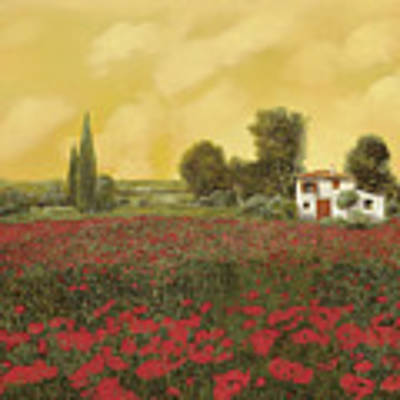 I Papaveri E La Calda Estate Art Print by Guido Borelli
