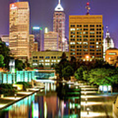 Indianapolis City Skyline And Canal Walk Art Print by Gregory Ballos