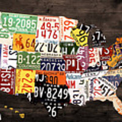 License Plate Map Of The United States - Warm Colors / Black Edition Art Print