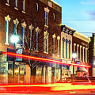 Light Trails Through The Rogers Arkansas Panoramic Skyline Art Print by Gregory Ballos