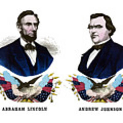 Lincoln And Johnson Campaign Poster Art Print by War Is Hell Store