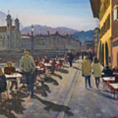 Lunchtime In Luzern Art Print by David Gilmore