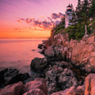 Maine Acadia Bass Harbor Lighthouse Sunset Art Print by Ranjay Mitra