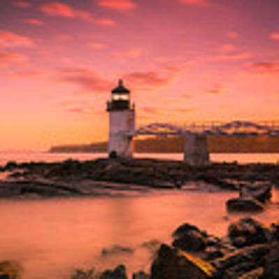 Maine Lighthouse Marshall Point At Sunset Art Print by Ranjay Mitra